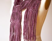 SALE - super long burgundy purple fringed scarf - crochet chain