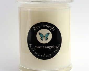 SCENTED SOY CANDLE in a glass jar with lid medium hand poured in Australia by Rare Butterfly