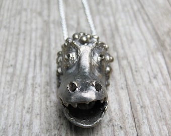 MONSTER solid white bronze and sterling silver necklace