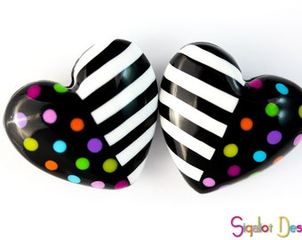 Dots and stripes Hearts - 2 Handmade polymer clay beads - Fluffy hearts - colorful dotted striped heart beads