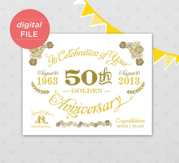 50th anniversary sign printable file by kindertype on etsy