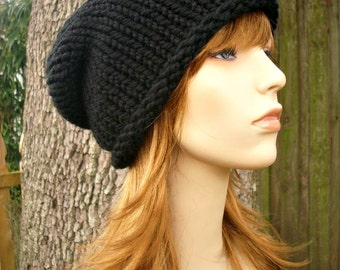 Knit Hat Womens Hat - Rolled Brim Beanie in Black Knit Hat - Black Hat Womens Accessories Winter Hat