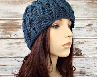 Knit Hat Womens Hat - Amsterdam Beanie in Denim Blue Knit Hat - Blue Hat Blue Beanie Blue Cable Hat Womens Accessories Winter Hat