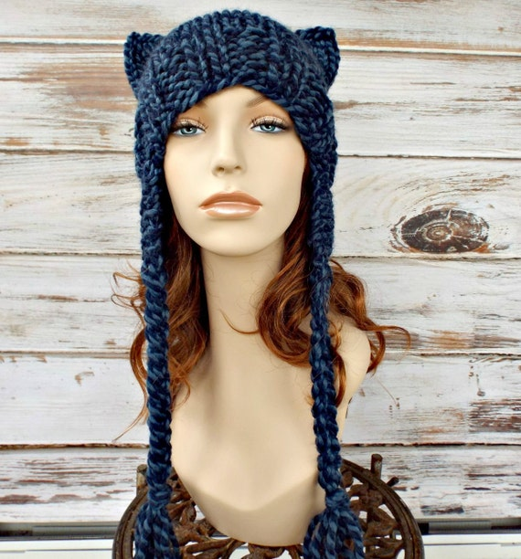 Knit Hat Womens Hat Braided Ties Ear Flap Cat Hat in Mixed