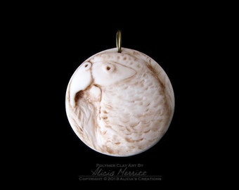Unique Faux Ivory African Grey Gray Parrot Exotic Bird in Earth Tones Clay Art Medallion Pendant (no chain or cord)
