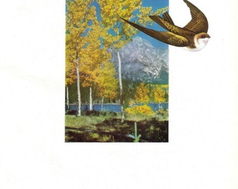 Nature Wall Art, Original Collage Art, Swallow Bird Art, Flying Bird Wall Art, Nature Art, Mountain Landscape Artwork