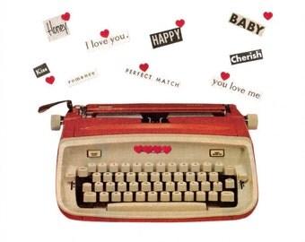Original Collage Art on Paper Retro Typewriter Art Romantic Love Letter Word Wall Art Romance Artwork