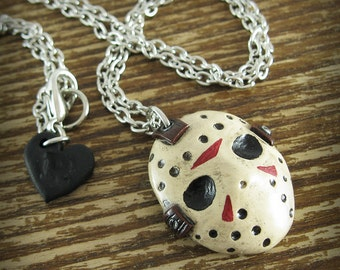 Jason Voohees Mask Inspired Polymer Clay Necklace