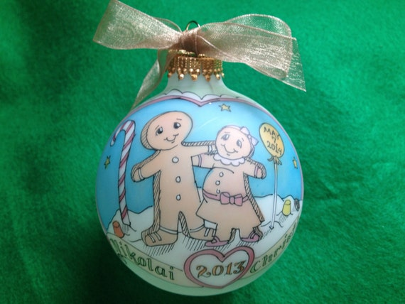 Items similar to baby on the way gingerbread couple - Ornament tapete weiay ...