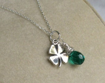 Lucky Shamrock Sterling Silver Necklace, Green Quartz Wire Wrapped Briolette Pendant - May Birthday