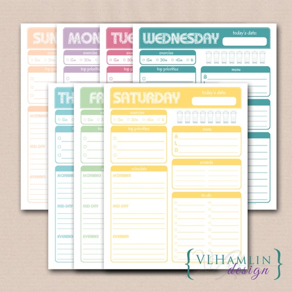 Printable Daily Planner, Sweet Treats