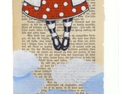 Come fly with me - Nursery art print A4 size - Mixed media art print - Girl with red dress