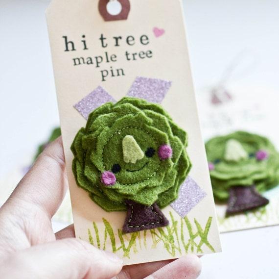 Felt Brooch - Tiny Maple Tree