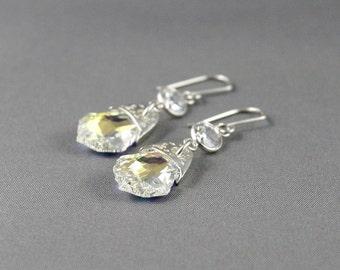 Swarovski crystal earrings. Earrings for a bride. Dangle earrings. Sparkly earrings. Bohemian jewelry