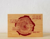 Tree Rings Postcard on Cherry Wood Veneer