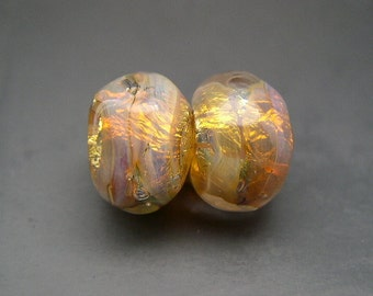 Naos Glass Fairy Opals Pair Made To Order Handmade Lampwork Beads SRA Peach Pink Purple Fire Opal Fine Silver