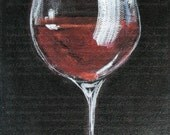 Red Wine Glass - Original Painting - 5 x 7 Acrylic Painting on Canvas - Red Wine Art - Wine Gift