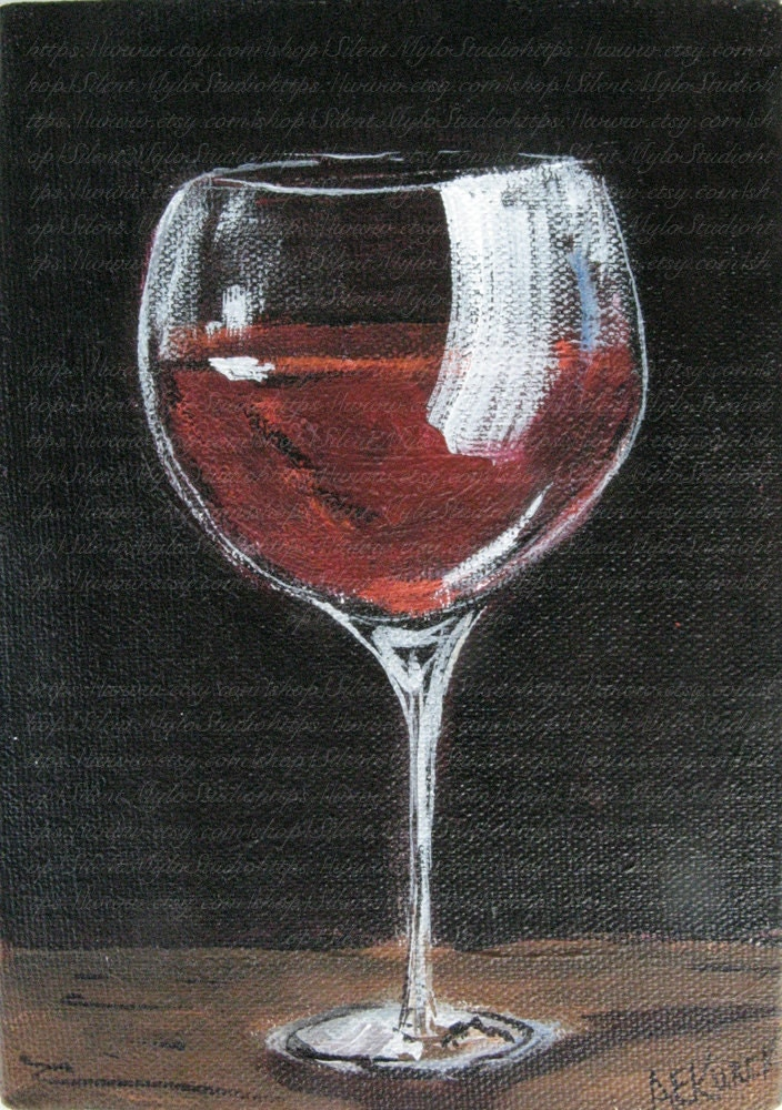 Red wine glass original painting 5 x 7 acrylic painting on for Type of paint to use on wine glasses