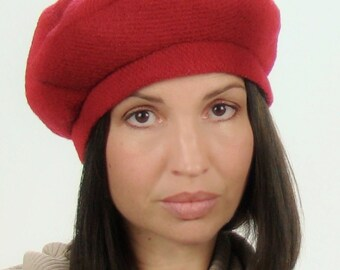 HAPPY VALENTINES DAY! Beret in Red Wool Blend - Ready to Ship