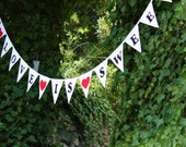 Love Is Sweet.  Fabric Bunting.  A Unique Wedding or Engagement Decoration. White Flags, Black Letters, Red Hearts, Custom Available Too.
