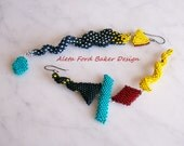 Earrings Colorful Long Beaded Dangles 'Memphis Design' Contemporary Art Jewelry Indespiral