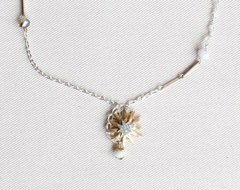 Vintage Upcycled Necklace / Silver Gold Charm Necklace / Rhinestone Star