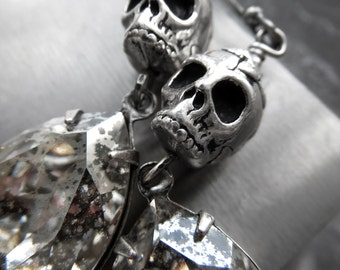 Silver Skull Earrings, Skull Halloween Jewelry, Crystal Teardrop Earrings, Punk Rocker Goth Gothic Jewelry, Dia De Los Muertos, Day of Dead