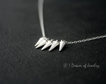 Sterling Silver Necklace - spikes, fan, mini statement necklace