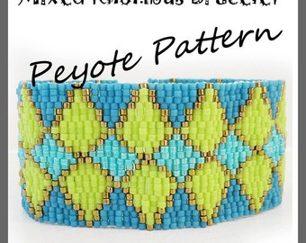 Mixed Rhombus Bracelet - Diamond Peyote Pattern Bracelet - For Personal Use Only PDF Tutorial