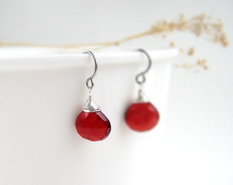 Red Stone Earrings - January birthstone, small drop wire wrapped in silver, bronze or gold, mom jewelry