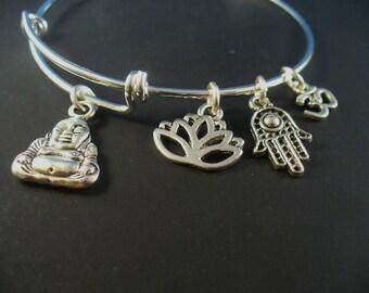Yoga Bangle Bracelet, Charm Bangle,  Adjustable Bangle, Sturdy Wire, AAA Quality, Yoga Theme, Hamsa Charm, Gift For Her