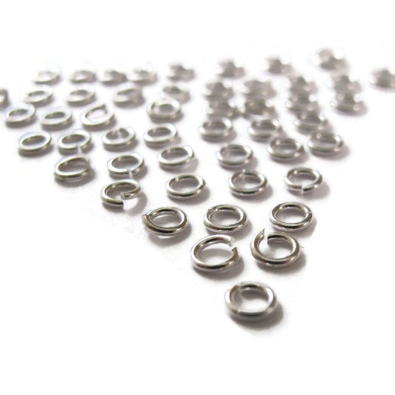Small Jump Rings, 50 Sterling Silver 4mm Open Jump Rings,  20 Gauge, Jewelry Findings for Necklaces and Bracelets (F 184as)