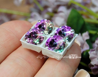 10mm Vitrail Light Rivoli Swarovski Crystal 1122 With Prong Setting Crystal Sew On Jewelry Making Genuine Swarovski in Sew on Setting