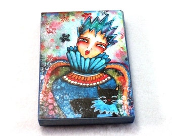 ACEO Fridge Magnet, Girl and Black Cat Art Print Wood Block, The Ice Queen ACEO ATC Artist Trading Card, Storybook, Blue, Girl Friend Gift