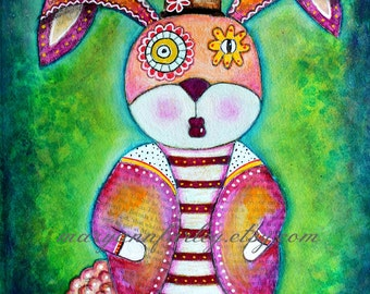 Bunny Art Print, Whimsical Art, Animal, Rabbit, Storybook Art, 8 x 10 and 5 x 6.5, Watercolor Mixed Media, Green Pink