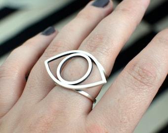 Evil eye ring in sterling silver - nickel free ring - statement ring - witchcraft ring - gothic statement ring - bohemian eye ring