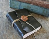 Leather Journal . NATURE - Wordsworth quote . Handmade Handbound . distressed dark moss (320 pgs)