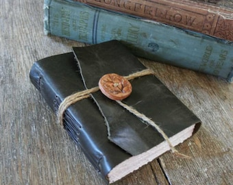 Leather Journal . NATURE - Wordsworth quote . Handmade Handbound . distressed dark moss (320 pgs)
