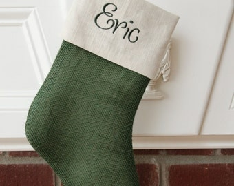 CHRISTMAS in JULY SALE!!!  Burlap Christmas Stocking - Green and cream detail - Free monogramming