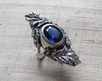 The Oak Leaf Ring- Sapphire and Sterling Silver