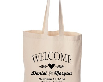 Wedding welcome bag Bulk order Personalized destination Wedding Welcome bag with bride and groom's names Wedding date Wedding favors