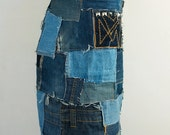 Bohemian patchwork denim skirt with contrast stitching and pocket studs