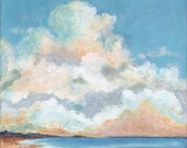 The Clouds and The Beach - Original Landscape Painting 8x8 Cloud Sea and Sky Calm Serene Stretched Canvas