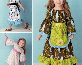 Girls dress pattern Boho ruffled dress sewing pattern Simplicity 1595 UNCUT Sz 4 to 8 half to 3