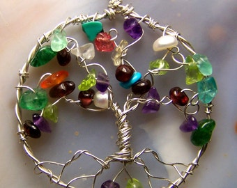 Family Tree Pendant - genealogy Gift for Mother - Tree of Life - Mothers Day personalized gift grandma birthstone anniversary grandmother