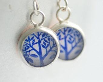 Tree of Life Earrings, Blue and White Earrings, Nature Earrings, Retro Earrings, Paper Earrings, Bezel Earrings, 1970's Inspired