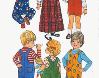 Vintage 1970s Toddlers Jumper and Jumpsuit Sewing pattern Simplicity 5382 Retro 70s Childrens Pattern SIZE 1 UNCUT