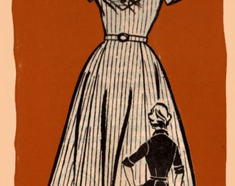 1950s  Rockabilly Dress Vintage Mail Order Sewing Pattern Marian Marin 9375 Size 14 Bust 34