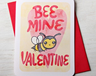 Valentine's Day Card  - Bee Mine Valentine - Valentines Day Card