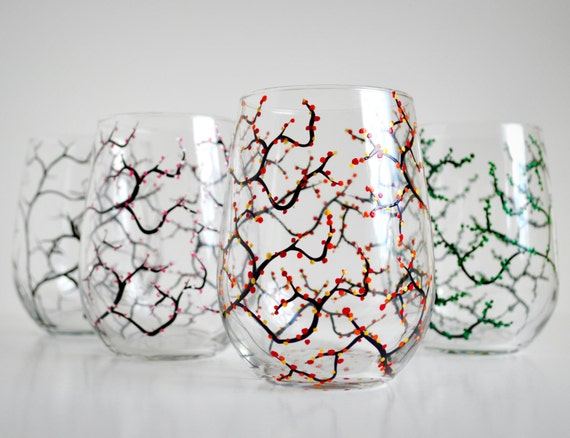 The Four Seasons Stemless Wine Glasses - Set of 4 Glasses in Winter, Spring, Summer and Fall